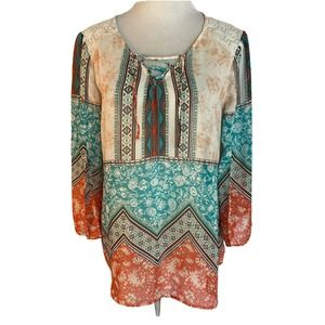Fig & Flower S Boho Pullover Teal Coral Blouse
